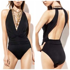 Badgley Mischka Solid Dip Back One-Piece Suit